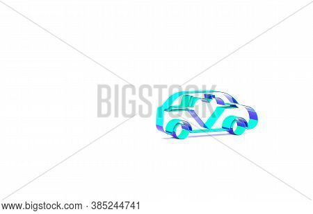 Turquoise Luxury Limousine Car Icon Isolated On White Background. For World Premiere Celebrities And