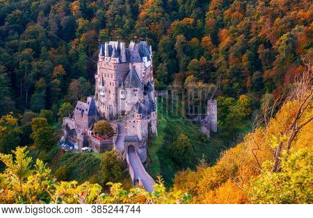 Picturesque Panoramic View Of Burg Eltz Castle In Autumn., Rhineland-palatinate, Germany
