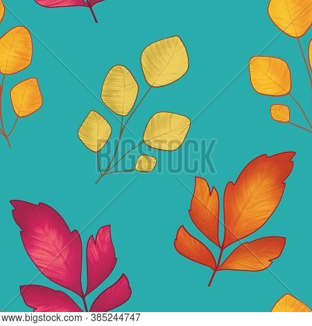Vibrant Yellow Red Lime Autumn Leaves, Branches Seamless Pattern. Autumn Colorful Background With Re