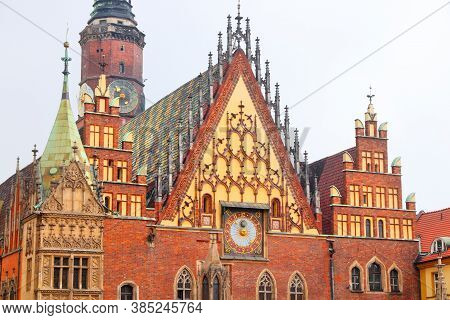 Wroclaw City Landmarks -  Old City Hall (ratusz) At Rynek Square. Wroclaw, Poland.