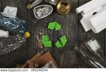 Recyclable Materials Concept. Various Waste For Recycling: Metal, Glass, Paper, Plastic And Polystyr