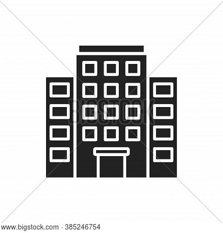 Multi-storey Building Black Glyph Icon. Building With Several Floors At Different Levels Above The G