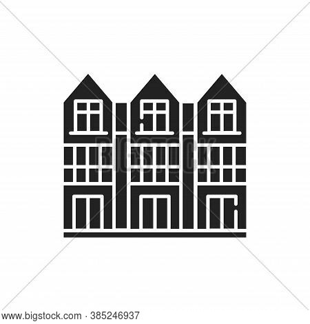 Townhouse Black Glyph Icon. View From The Cottage. Landscape Of The Surrounding. Pictogram For Web P