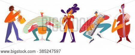 Cartoon Jazz Musicians And Vocalist In Modern Style Isolated On White Background
