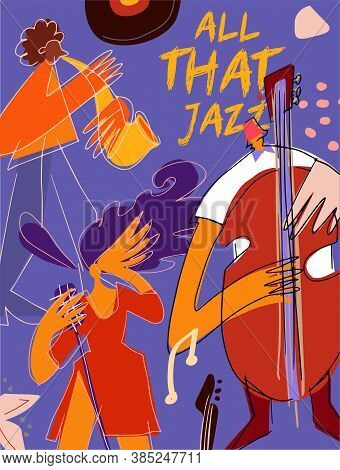 Poster Design Template With Jazz Musicians For Music Event, Festival, Perfomances