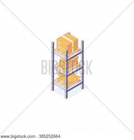 Isometric Warehouse Boxes Equipment Rack Pallets And Shelf. 3d Box Pallets Shelving Racking Vector I