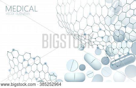 Drug Capsule Medicine Business Concept. Banner Blue Glowing Medicament Pill Prebiotic Probiotic Ball
