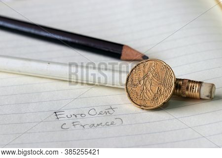 Twenty France Euro Cent On Obverse, Line Image Of