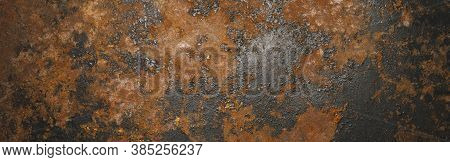 Grunge Rusty Dark Metal Background Texture Or Backdrop, Banner Size