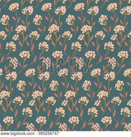 Painted Flower Bunch Meadow Seamless Vector Pattern. Flower Branches Of Little Flowers In Bunches Wi