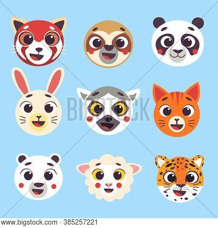 Cute Cartoon Animals Faces Set Part 2. Isolated Vector Illustration. Red Panda, Sloth, Panda, Hare,