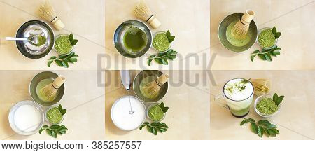 Collection Matcha Tea Cappuccino. Step By Step Instructions. Do It Yourself (diy). Superfood. Matcha