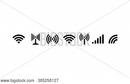 Wi-fi, Wireless Connection, Antenna Signal Strength Icon. Vector On Isolated White Background. Eps 1