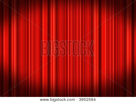 Red Stage Curtains Shut