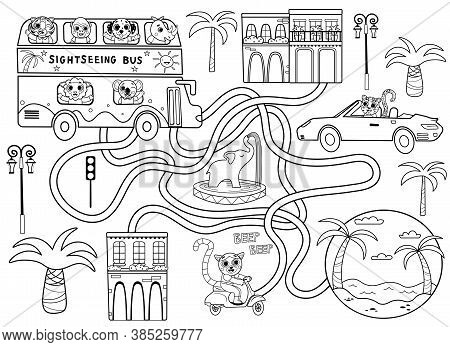Help The Sightseeing Bus Find The Right Path To The Beach. Maze Or Labyrinth Game For Preschool Chil