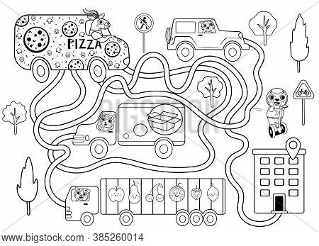 Help The Pizza Delivery Car Find The Right Path To The Client. Maze Or Labyrinth Game For Preschool