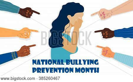 National Bullying Prevention Month In October In Usa. Victim Girl Scene In Society. Stressed Woman I