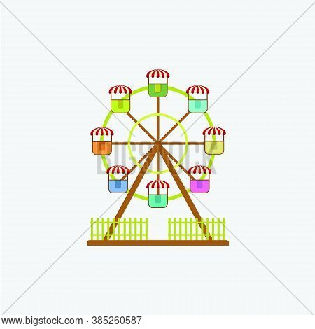 Flat Illustration Of A Rotating Ferris Wheel. Amusement Park Cartoon Image. Amusement Park Design El