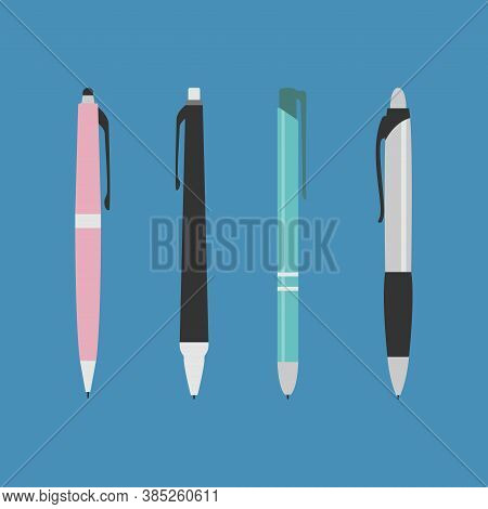Pen. Set Of Pens Of Various Colors Isolated On Blue Background, Vector Illustration Design In Flat S