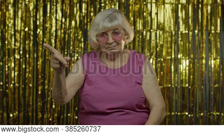Bossy Strict Senior Old Blond Woman In Pink Blouse Blaming And Asking To Get Out, Conflict, Break-up