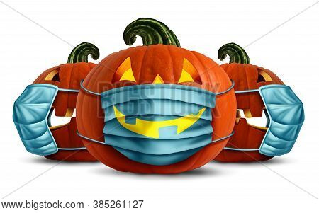 Halloween Face Masks As A Jack O Lantern Pumpkin Wearing A Medical Face Mask As An Autumn Symbol For