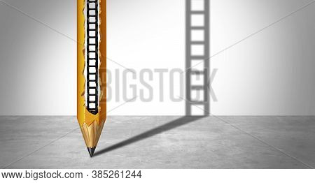 Success Creative Concept And Inner Potential To Succeed As A Carved Pencil Ladder As A 3d Render.