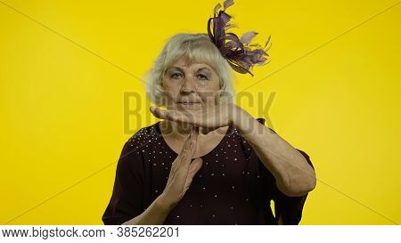Tired Senior Old Woman Showing Time Out, Pause Gesture Looking At Camera With Exhausted Upset View,