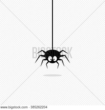 Spider Icon. Halloween Concept. Tatoo Idea. Vector On Isolated Transparent Background. Eps 10