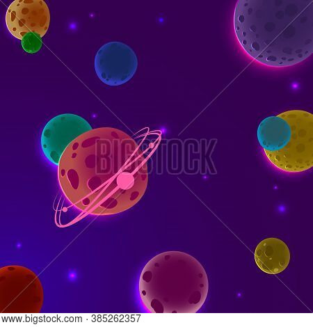 Background With Planets. Space Of The Planet. Vector Background With Planets
