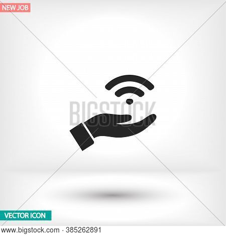 Wi Fi Icon In The Hand , Lorem Ipsum Flat Design