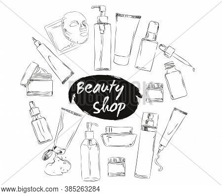 Korean Cosmetics. Set Of Beauty Salon Banners With Hand Draw Doodle Backgrounds, Chalk Drawn Cosmeti