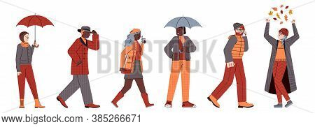 Row Of Multiracial People Cartoon Characters Warm Dressed And Cheerful With Autumn Coming, Flat Vect