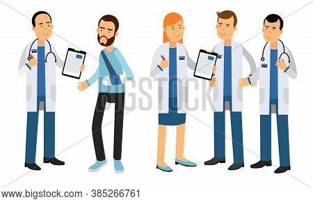 People Characters Doctors Wearing Medical Uniform Observing Patient Vector Illustrations Set