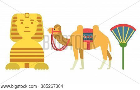 Egypt Attributes With Camel And Androsphinx Vector Set