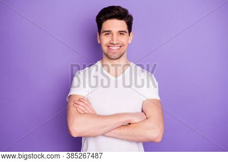 Photo Handsome Attractive Guy Student Arms Crossed Confident Business Man Guy Young Successful Freel