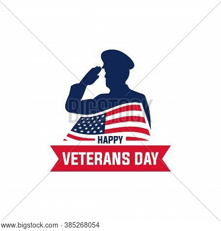 Happy Veterans Day Vector Illustration. Good For The Veterans Day Celebration. Vector Flat With Blue