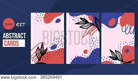 Abstract Shape Conterporary Card Set, Creative Wallpaper Collection, Template For Invitation With Le