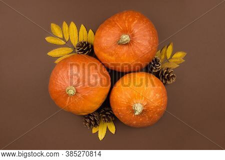 Three Orange Pumpkins, Dried Leaves And Fir Cones Flat Lay On Brown Background. Autumn Harvest. Hall