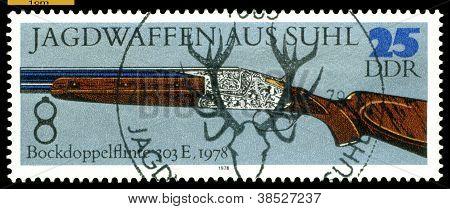 Vintage  Postage Stamp. Superimposed  Double-barreled  Gun . 1978.