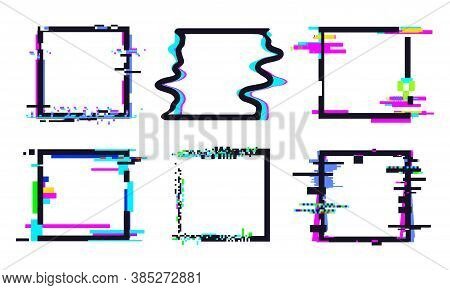 Glitch Square Frame. Square Template Shape Colorful, Dynamic Glow Pixel Defect Illustration Vector.