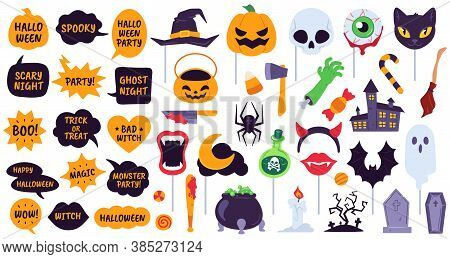 Halloween Props. Holiday Accessories Speech Bubbles With Phrases, Pumpkin, Skull And Devil Hat. Spid