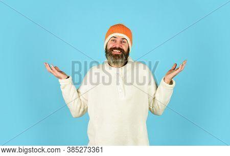 You Are Next. Portrait Of Brutal Man In Fleece Sweatshirt. Handsome Male Model Wearing Warm Hat. Cas