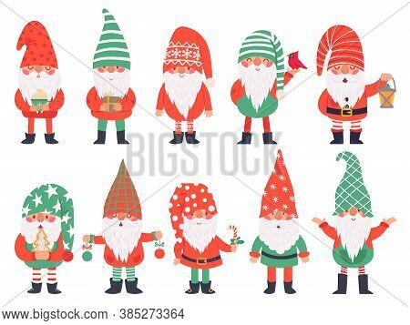 Christmas Dwarfs. Funny Fabulous Gnomes In Red Costumes, Xmas Gnome With Lantern Traditional Decorat