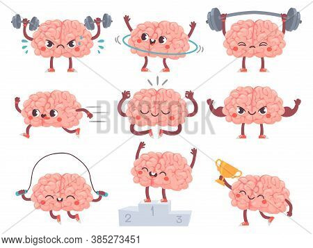 Brain And Sport. Comic Brains Sports Activities, Training Achievements Iq Metaphor, Mental Exercise,