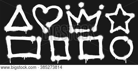 Graffiti Spray Frames. Stain Graffiti Isolated, Paint Shape Splash On Black Background, Abstract Spl