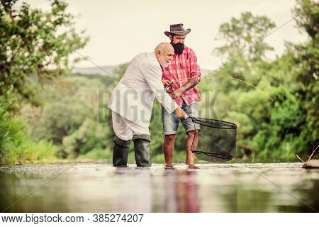 Men Fishing Together. Fish With Friend. Male Leisure. Good Angler Respects Natural Resources. Fish S