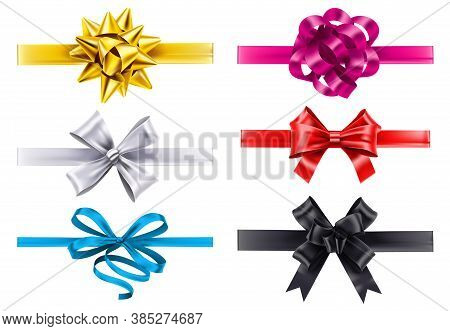 Realistic Ribbons With Bows. Vector Bow Decoration, Birthday Gift Knot Made Form Satin For Christmas