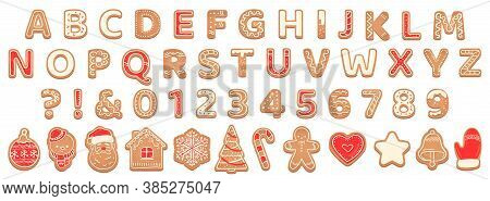 Gingerbread Alphabet. Christmas Cookies And Biscuit Letters For Xmas Holiday Message. Pastry Gingerb