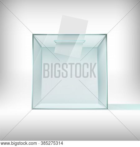 Ballot Box. Glass Transparent Voting Container With Falling Ballot Paper. Survey Plastic Case, Usa 2