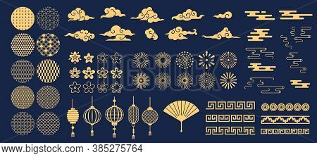 Chinese Elements. Asian New Year Gold Decorative Patterns And Lanterns, Flowers, Clouds And Ornament